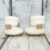 Crochet cream and beige bow baby, booties, boots, shoes - Age 3-6 months