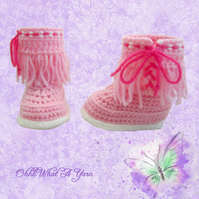 Crochet pink moccasin  baby, booties, boots, shoes - Age 0-3 months