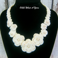 Crochet cream, ivory flower and bead necklace, bridal necklace, wedding necklace
