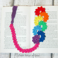 Crochet rainbows bookmark, rainbow bookmark, page keeper, page finder.
