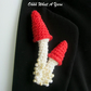 Crochet red toadstool brooch, crochet mushroom brooch
