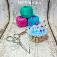 Crochet blue cupcake decoration, scissor keeper, bag charm