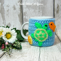 Crochet sea themed mug hug, mug cosy underwater, mug cozy, mug warmer