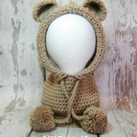 Beige chunky crochet teddy bear hood, snood - Toddler size 1-3 years approx