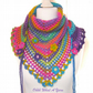Crochet ladies multi coloured rainbow shawl, scarf, shawlette, wrap