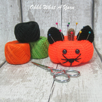 Crochet orange pumpkin cat pincushion, purrrmpkin,