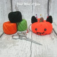 Crochet pumpkin cat pincushion, hanging decoration, scissor keeper