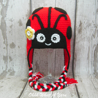 Crochet ladybird, ladybug hat with ear flaps size 2-3 years