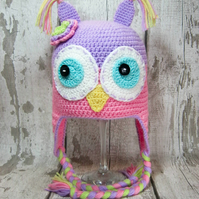 Crochet pastel coloured childs owl hat with ear flaps size 3-6 years