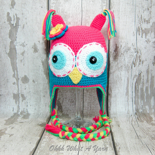 Crochet bright coloured childs owl hat with ear flaps size 3-6 years