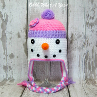 Crochet pink snowlady, snowman hat,  Age 3-6 years approx
