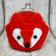 Crochet fox purse, crochet purse, coin purse, fox coin purse, fox gift