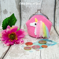 Crochet pink rainbow unicorn coin purse, crochet purse, coin purse, clasp purse