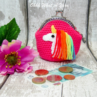 Crochet hot pink rainbow unicorn purse, crochet purse, coin purse, unicorn purse