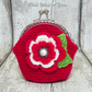 Crochet red and cream flower coin purse, flower purse, clasp purse, coin purse