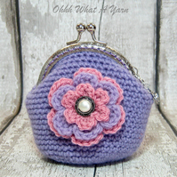 Crochet lilac flower coin purse, flower purse, clasp purse, coin purse