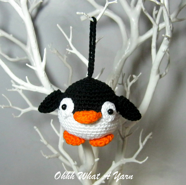 Crochet penguin hanging decoration, scissor keeper, pin cushion, bag charm.