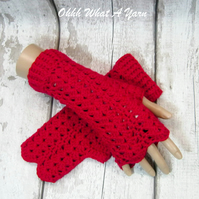 Red ladies crochet gloves, finger less gloves, arm warmers, wrist warmers