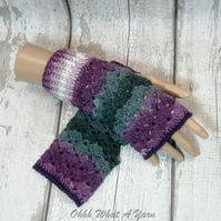 Purple lilac and grey ladies crochet gloves, finger less gloves,wrist warmers