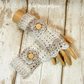 Beige and cream ladies crochet gloves, finger less gloves,wrist warmers