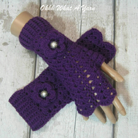 Purple ladies crochet gloves, finger less gloves,wrist warmers, purple gloves.