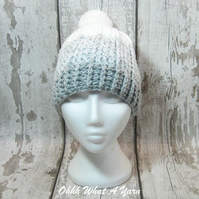 Grey and white crochet ombre chunky ladies hat, chunky hat, ladies pom pom hat
