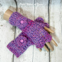 Purple and pink ladies crochet gloves, finger less gloves,wrist warmers