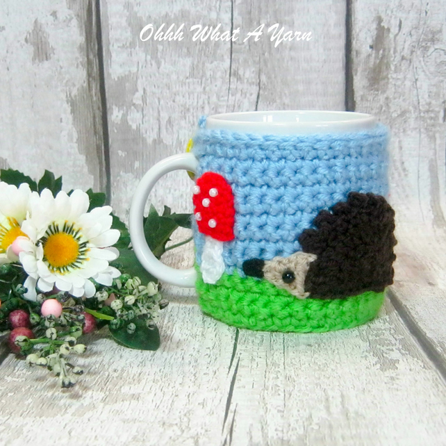 Hedgehog mug hug, hedgehog mug cosy. Made To Order