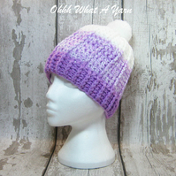 Lilac and white crochet ombre chunky ladies hat, chunky hat, ladies pom pom hat