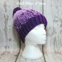 Purple and lilac crochet ombre chunky ladies hat, chunky hat, ladies pom pom hat