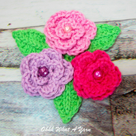 Crochet pink roses brooch, crochet rose corsage, flower brooch