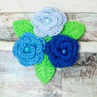 Crochet blue roses brooch, crochet rose corsage, flower brooch