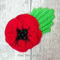 Crochet red poppy brooch, crochet poppy corsage, flower brooch