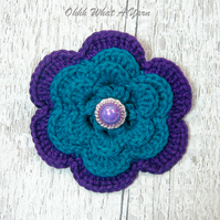 Crochet purple and teal flower brooch, crochet flower corsage, flower brooch