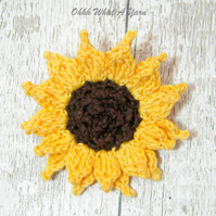 Crochet sunflower brooch, crochet sunflower corsage, flower brooch