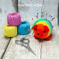 Crochet rainbow pig decoration, scissor keeper, pin cushion, bag charm.