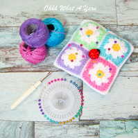 Daisy granny square crochet pin cushion.
