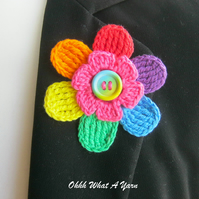 Crochet rainbow flower brooch, crochet flower pin, flower brooch