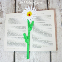 Daisy flower crochet bookmark, daisy page keeper