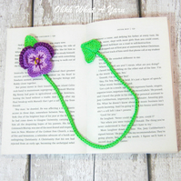 Purple pansy crochet bookmark. Crochet pansy.  Crochet bookmark