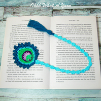 Blue and green peacock feather crochet bookmark, pagekeeper.