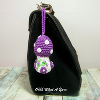 Crochet purple toadstool, mushroom fairy house decoration, bag charm