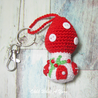 Crochet red toadstool, mushroom fairy house decoration, bag charm