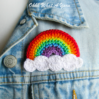 Crochet rainbow  brooch, crochet rainbow pin, rainbow brooch