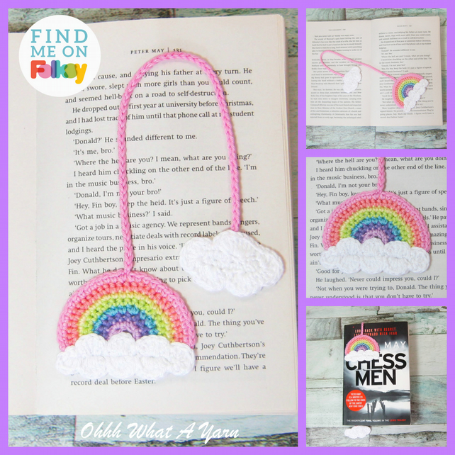 Crochet pastel rainbow bookmark, rainbow bookmark, page keeper, page finder.
