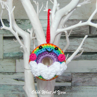 Crochet rainbow doughnut decoration, crochet rainbow, pin cushion, bag charm.