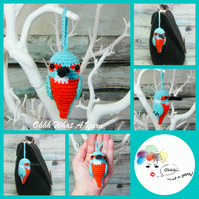 Crochet kingfisher hanging decoration, bag charm, key ring, key chain