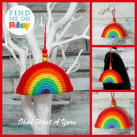 Crochet rainbow rainbow bag charm, crochet hanging decoration, key ring.