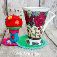 Crochet rainbow toadstool coaster. Toadstool pincushion. Crochet pincushion.