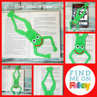 Crochet frog bookmark. Wide mouth frog. Frog gift. Frog bookmark